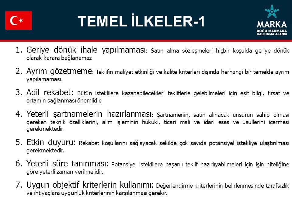 TEMEL İLKELER-1 Geriye dönük ihale yapılmaması: Satın alma sözleşmeleri hiçbir koşulda geriye dönük olarak karara bağlanamaz.