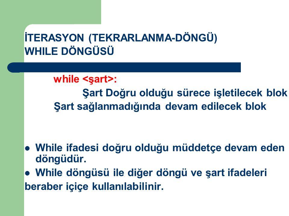 İTERASYON (TEKRARLANMA-DÖNGÜ)