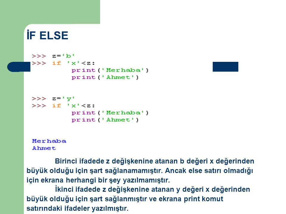 İF ELSE Birinci ifadede z değişkenine atanan b değeri x değerinden