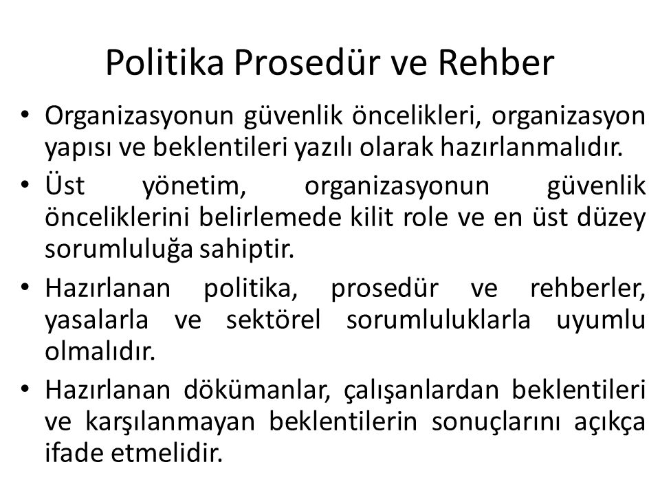 Politika Prosedür ve Rehber