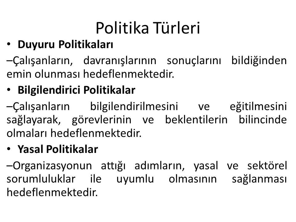 Politika Türleri Duyuru Politikaları