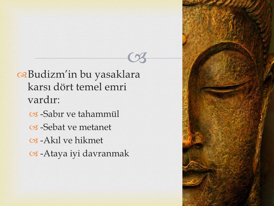 Budizm'in bu yasaklara karsı dört temel emri vardır: