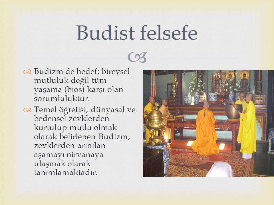 Budist felsefe Budizm de hedef; bireysel mutluluk değil tüm yaşama (bios) karşı olan sorumluluktur.