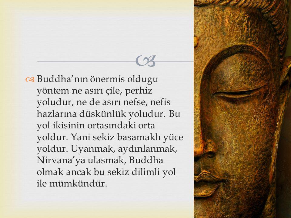 Buddha'nın önermis oldugu yöntem ne asırı çile, perhiz yoludur, ne de asırı nefse, nefis hazlarına düskünlük yoludur.