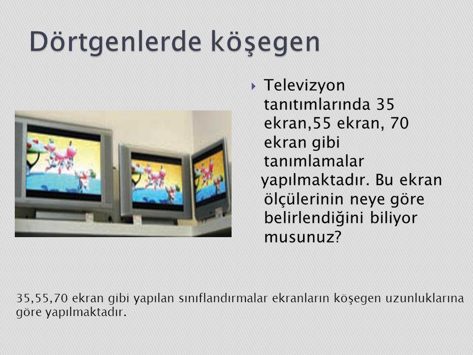 Dörtgenlerde köşegen Televizyon tanıtımlarında 35 ekran,55 ekran, 70 ekran gibi tanımlamalar.