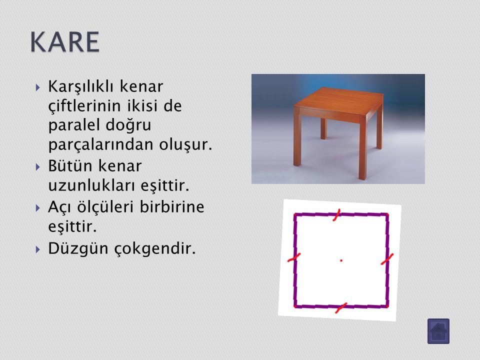 KARE Karşılıklı kenar çiftlerinin ikisi de paralel doğru parçalarından oluşur. Bütün kenar uzunlukları eşittir.