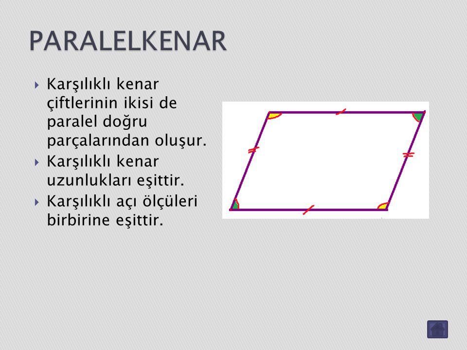 PARALELKENAR Karşılıklı kenar çiftlerinin ikisi de paralel doğru parçalarından oluşur. Karşılıklı kenar uzunlukları eşittir.