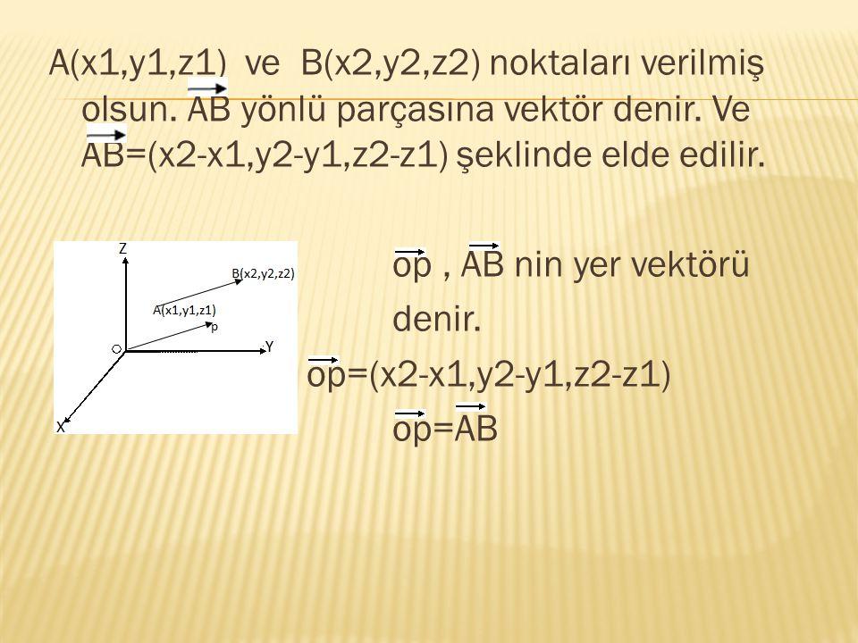 A(x1,y1,z1) ve B(x2,y2,z2) noktaları verilmiş olsun