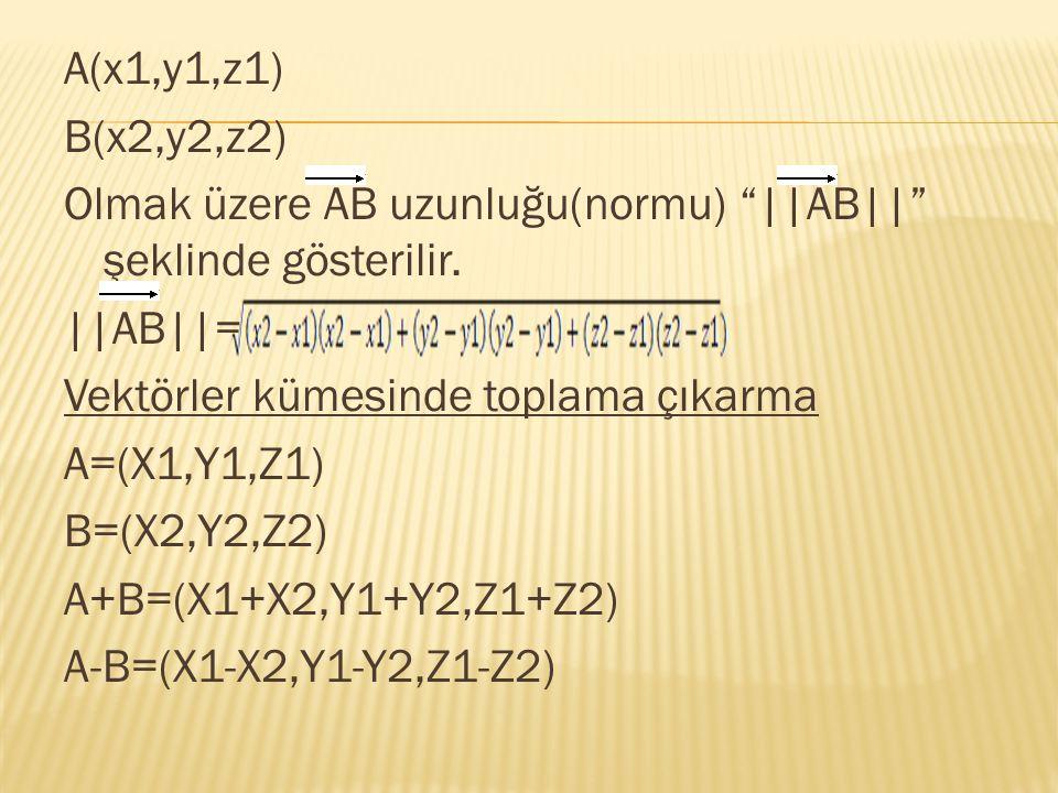 A(x1,y1,z1) B(x2,y2,z2) Olmak üzere AB uzunluğu(normu) ||AB|| şeklinde gösterilir.