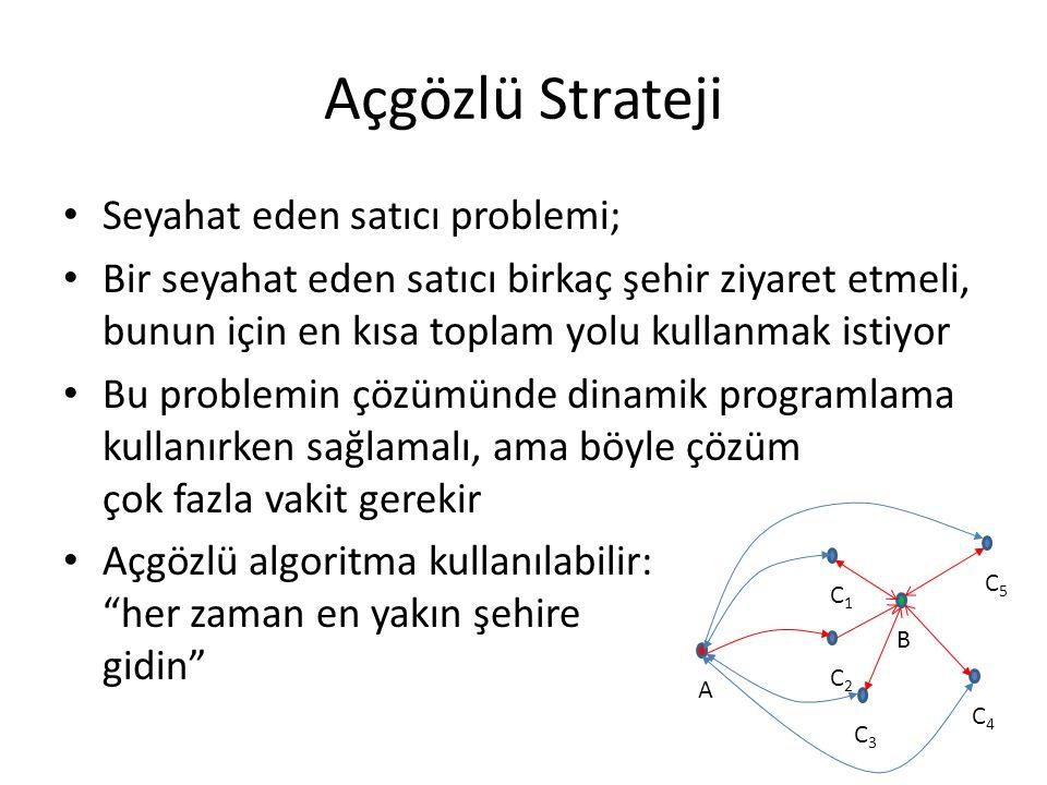 Açgözlü Strateji Seyahat eden satıcı problemi;
