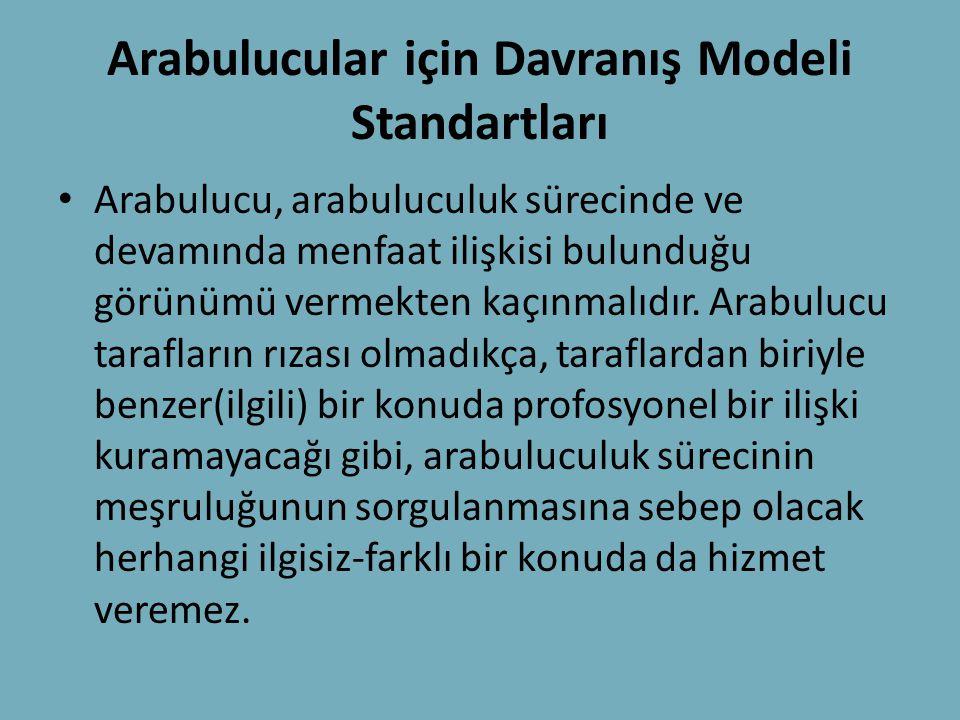 Arabulucular için Davranış Modeli Standartları