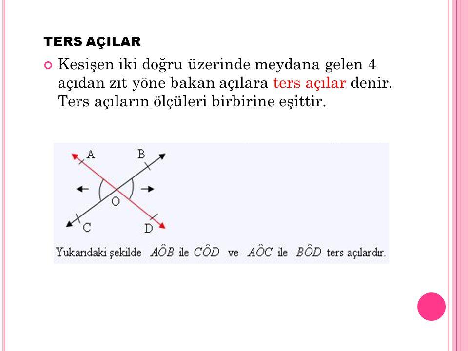 TERS AÇILAR Kesişen iki doğru üzerinde meydana gelen 4 açıdan zıt yöne bakan açılara ters açılar denir.