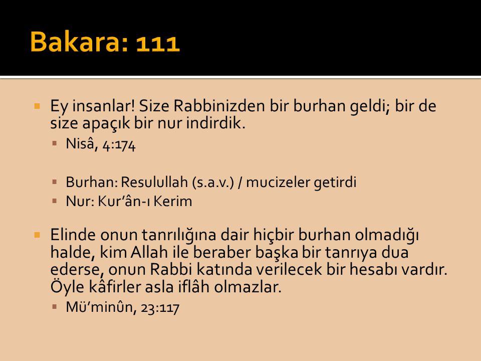 Bakara: 111 Ey insanlar! Size Rabbinizden bir burhan geldi; bir de size apaçık bir nur indirdik. Nisâ, 4:174.
