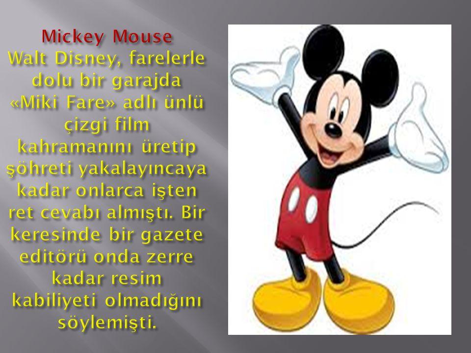 Mickey Mouse Walt Disney, farelerle dolu bir garajda «Miki Fare» adlı ünlü çizgi film kahramanını üretip şöhreti yakalayıncaya kadar onlarca işten ret cevabı almıştı.