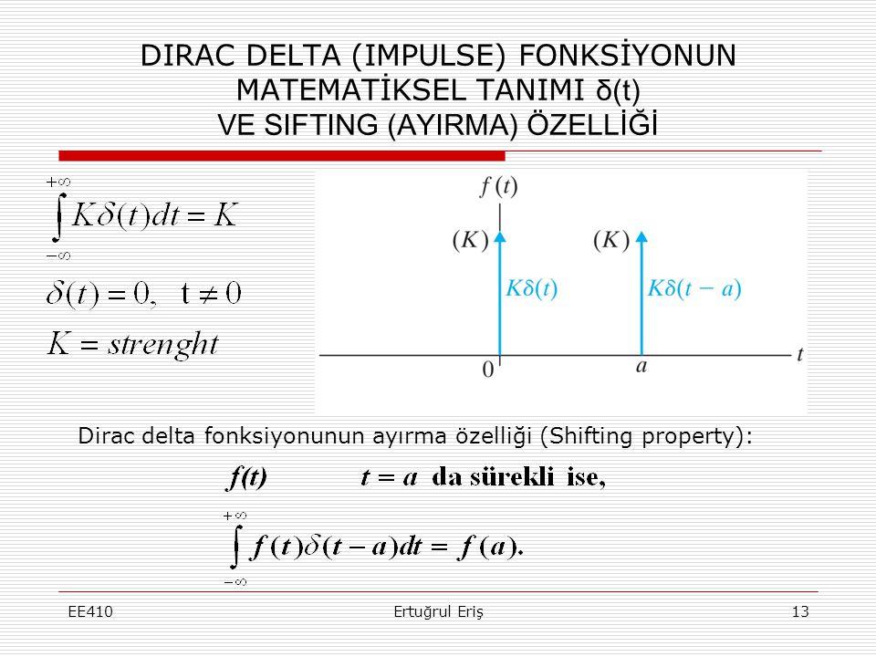 DIRAC DELTA (IMPULSE) FONKSİYONUN MATEMATİKSEL TANIMI δ(t) VE SIFTING (AYIRMA) ÖZELLİĞİ