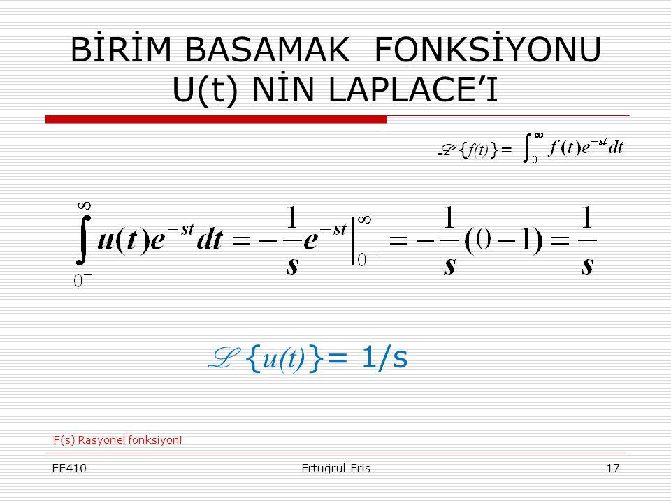 BİRİM BASAMAK FONKSİYONU U(t) NİN LAPLACE'I