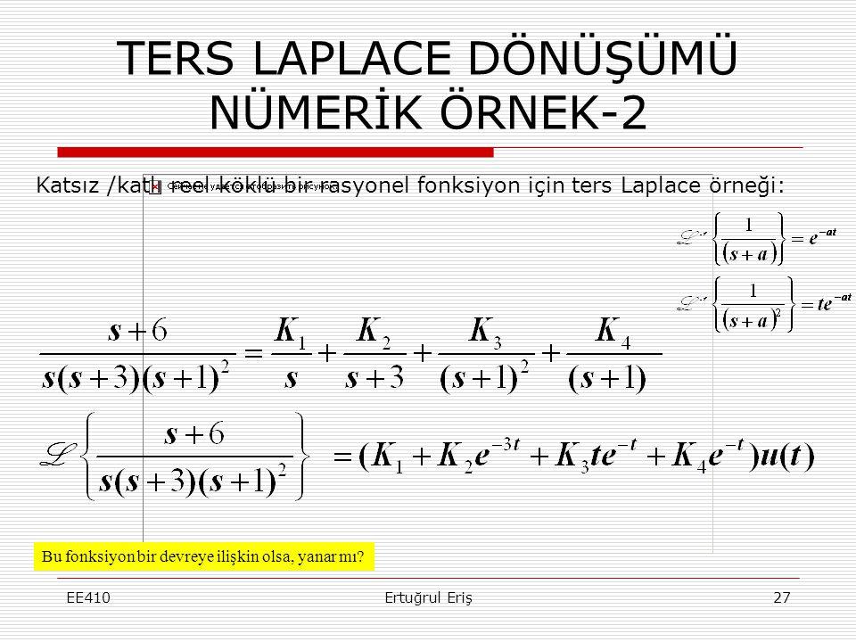 TERS LAPLACE DÖNÜŞÜMÜ NÜMERİK ÖRNEK-2