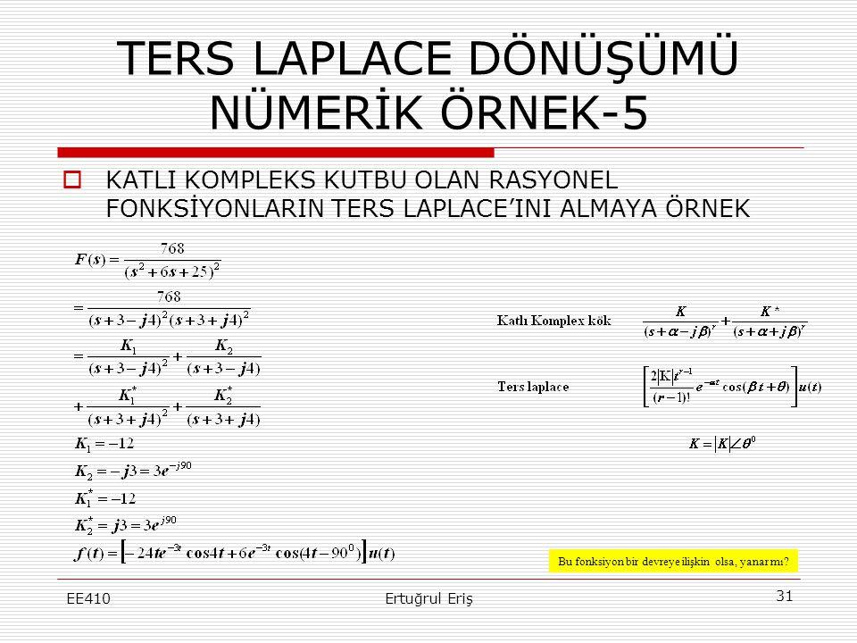 TERS LAPLACE DÖNÜŞÜMÜ NÜMERİK ÖRNEK-5