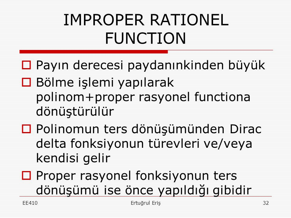 IMPROPER RATIONEL FUNCTION