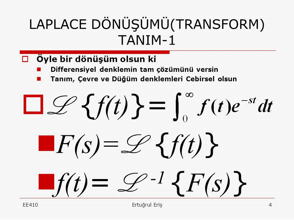 LAPLACE DÖNÜŞÜMÜ(TRANSFORM) TANIM-1