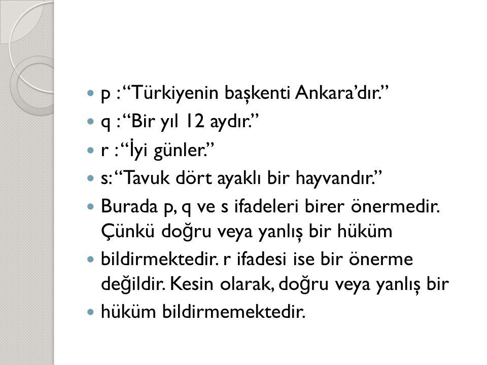 p : Türkiyenin başkenti Ankara'dır.
