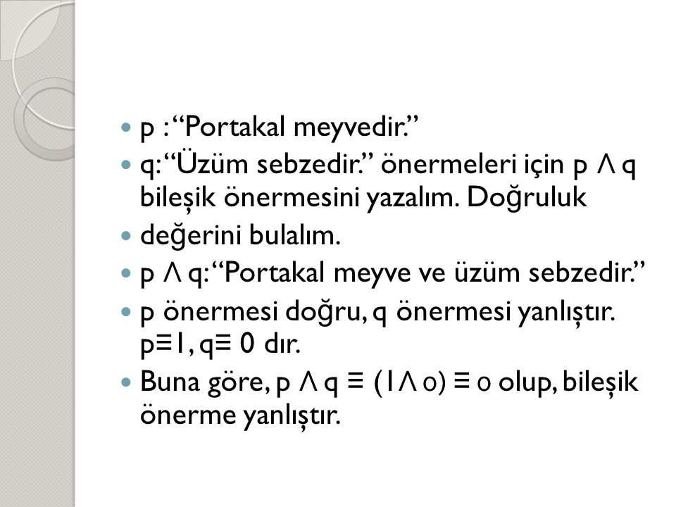 p : Portakal meyvedir.