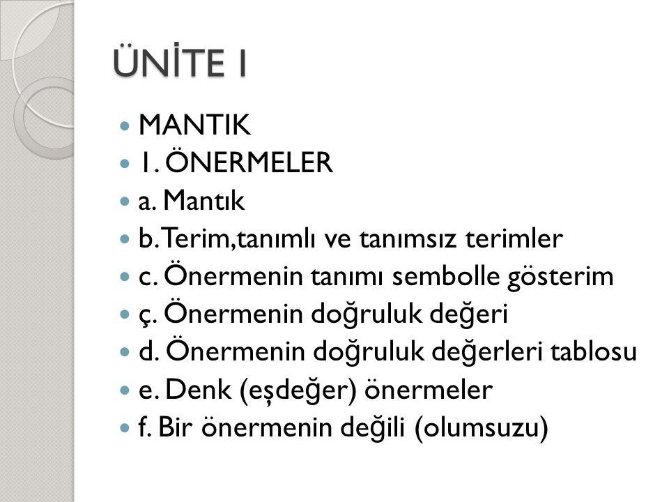 ÜNİTE I MANTIK 1. ÖNERMELER a. Mantık