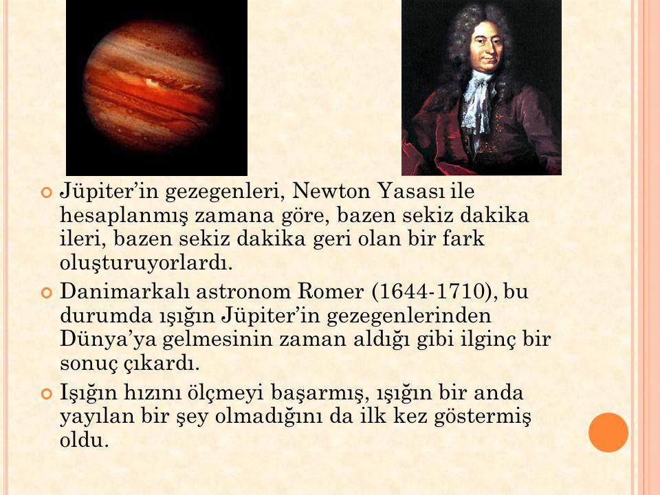 Jüpiter'in gezegenleri, Newton Yasası ile hesaplanmış zamana göre, bazen sekiz dakika ileri, bazen sekiz dakika geri olan bir fark oluşturuyorlardı.