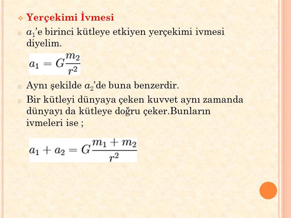 Yerçekimi İvmesi a1'e birinci kütleye etkiyen yerçekimi ivmesi diyelim. Aynı şekilde a2'de buna benzerdir.