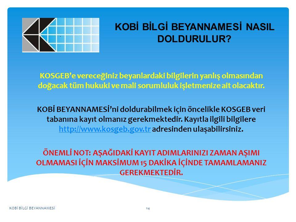 KOBİ BİLGİ BEYANNAMESİ NASIL DOLDURULUR