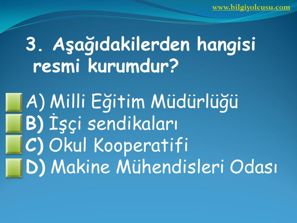 3. Aşağıdakilerden hangisi resmi kurumdur Milli Eğitim Müdürlüğü