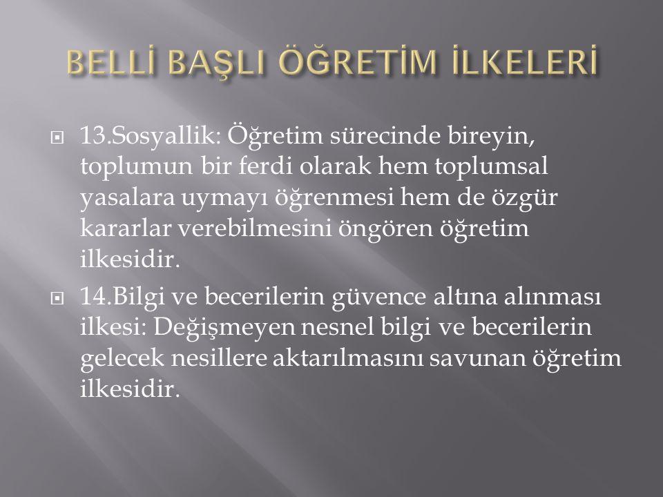 BELLİ BAŞLI ÖĞRETİM İLKELERİ