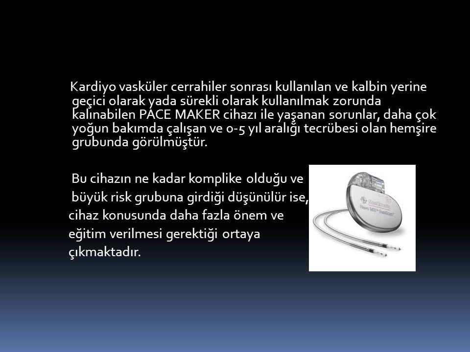 Kardiyo vasküler cerrahiler sonrası kullanılan ve kalbin yerine geçici olarak yada sürekli olarak kullanılmak zorunda kalınabilen PACE MAKER cihazı ile yaşanan sorunlar, daha çok yoğun bakımda çalışan ve 0-5 yıl aralığı tecrübesi olan hemşire grubunda görülmüştür.