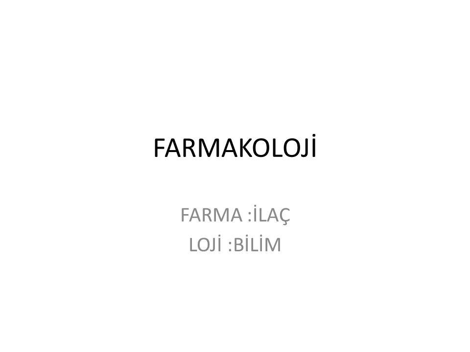 FARMA :İLAÇ LOJİ :BİLİM