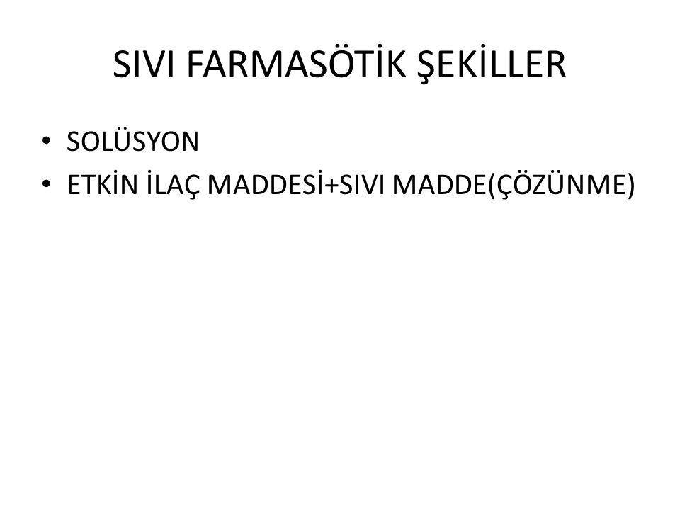 SIVI FARMASÖTİK ŞEKİLLER