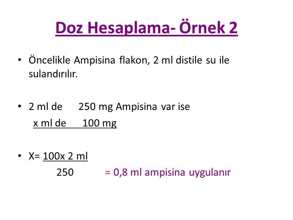 Doz Hesaplama- Örnek 2 Öncelikle Ampisina flakon, 2 ml distile su ile sulandırılır. 2 ml de 250 mg Ampisina var ise.