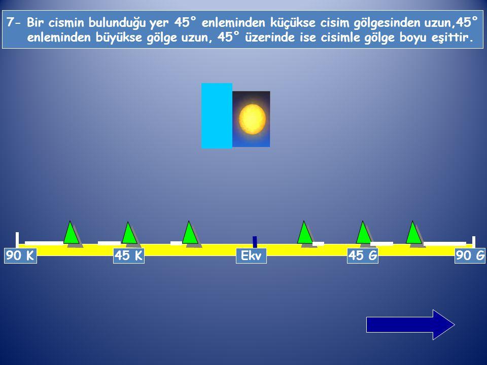 7- Bir cismin bulunduğu yer 45° enleminden küçükse cisim gölgesinden uzun,45°