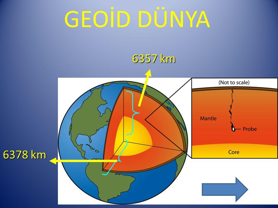 GEOİD DÜNYA 6357 km 6378 km