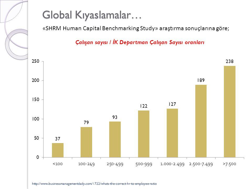 Çalışan sayısı / İK Departman Çalışan Sayısı oranları