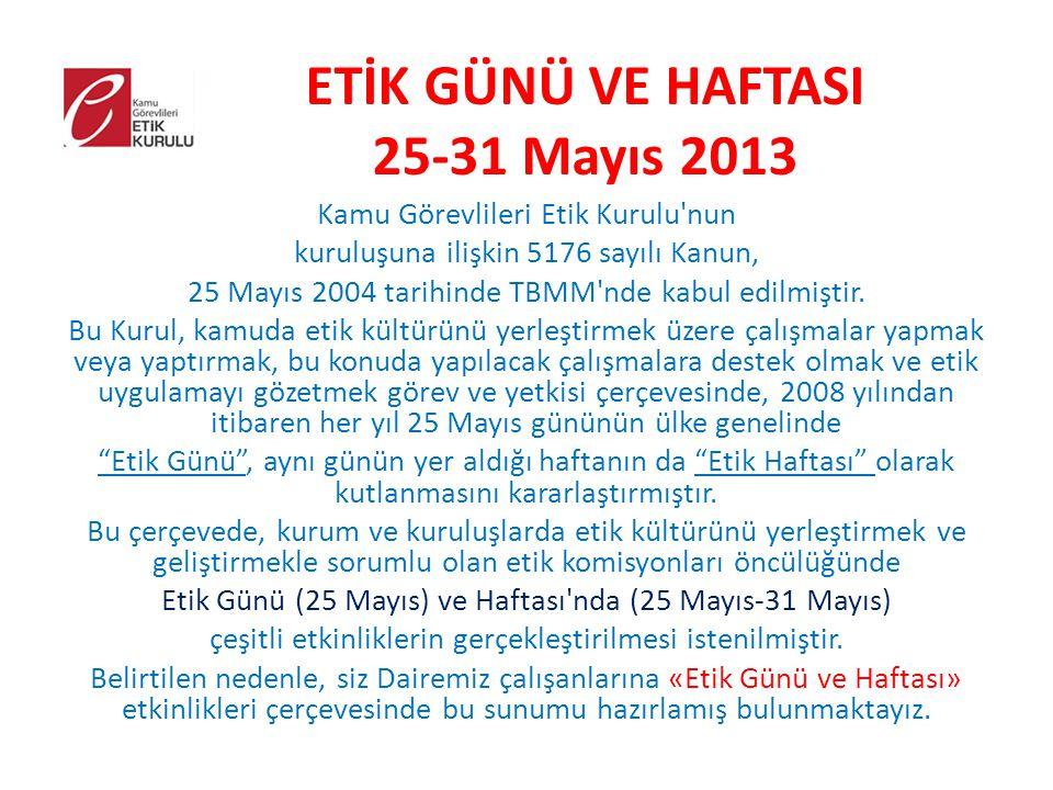 ETİK GÜNÜ VE HAFTASI 25-31 Mayıs 2013