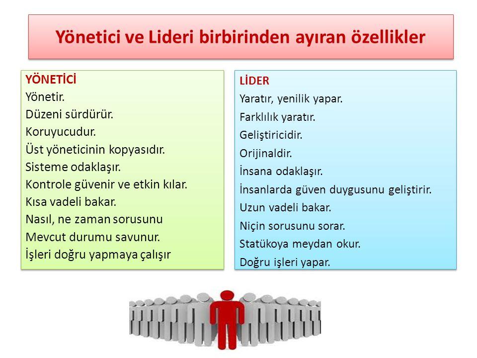 Yönetici ve Lideri birbirinden ayıran özellikler
