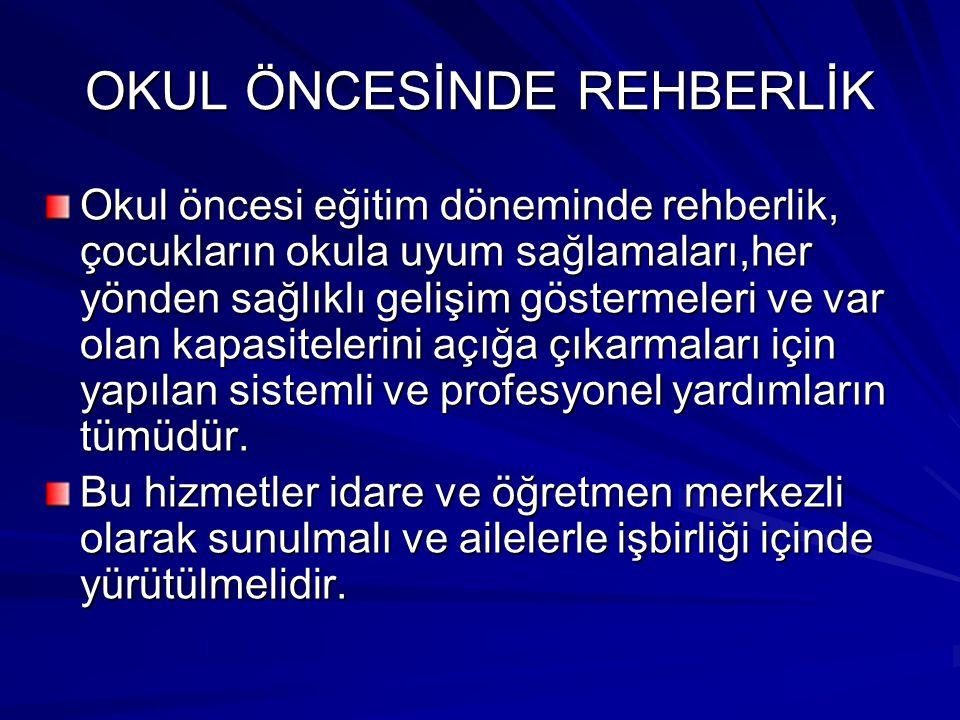 OKUL ÖNCESİNDE REHBERLİK