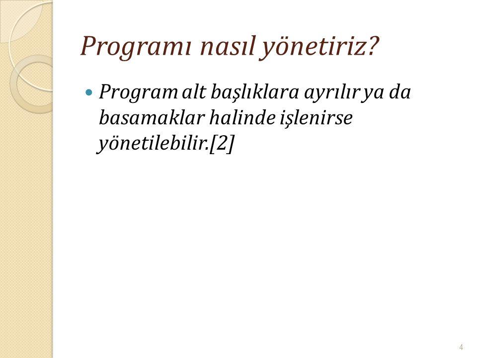 Programı nasıl yönetiriz