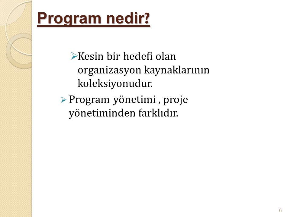 Program nedir Kesin bir hedefi olan organizasyon kaynaklarının koleksiyonudur. Program yönetimi , proje yönetiminden farklıdır.