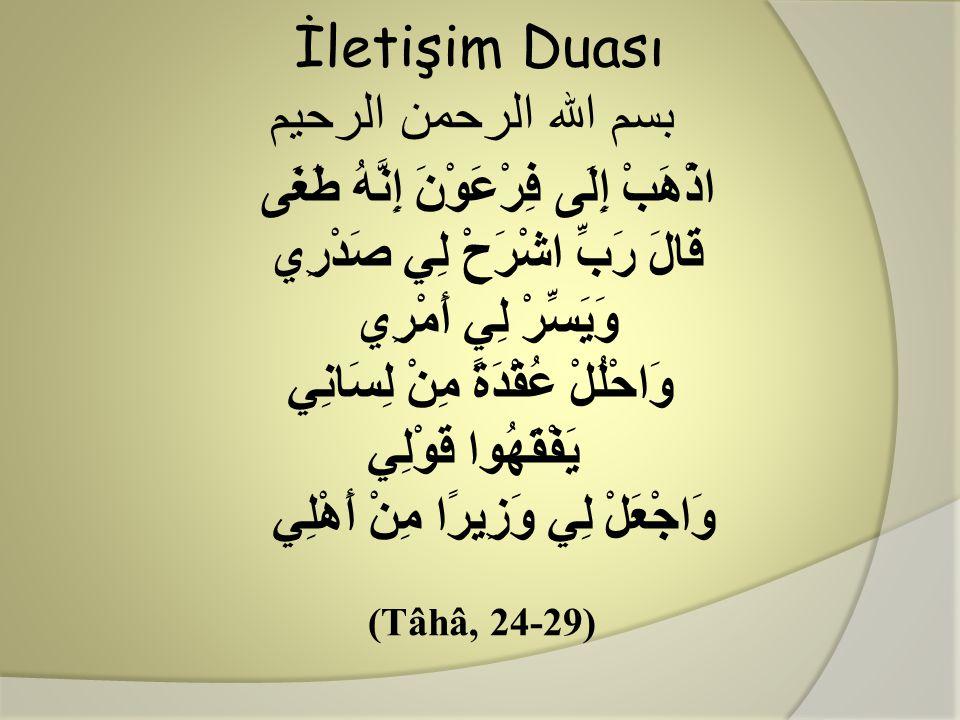 İletişim Duası بسم الله الرحمن الرحيم