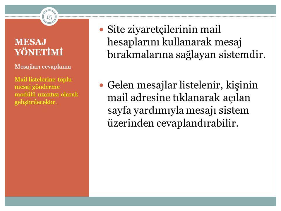 Site ziyaretçilerinin mail hesaplarını kullanarak mesaj bırakmalarına sağlayan sistemdir.