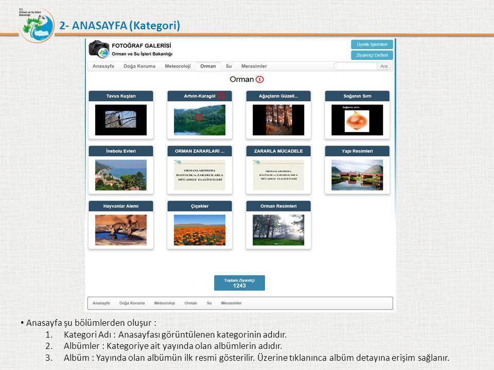 2- ANASAYFA (Kategori) Anasayfa şu bölümlerden oluşur :