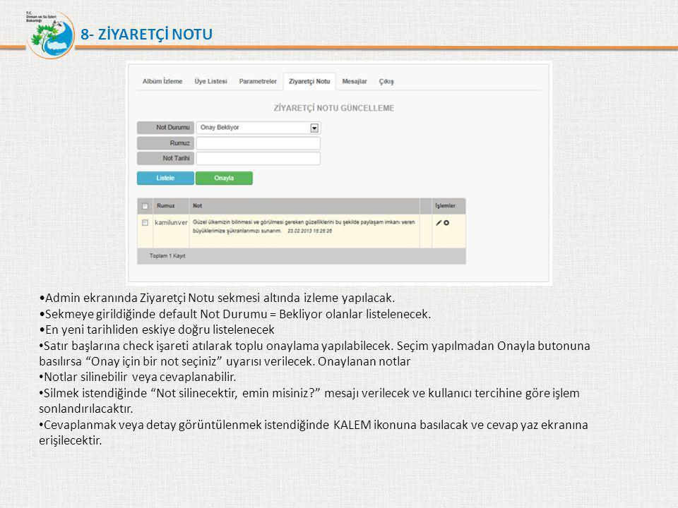 8- ZİYARETÇİ NOTU Admin ekranında Ziyaretçi Notu sekmesi altında izleme yapılacak.