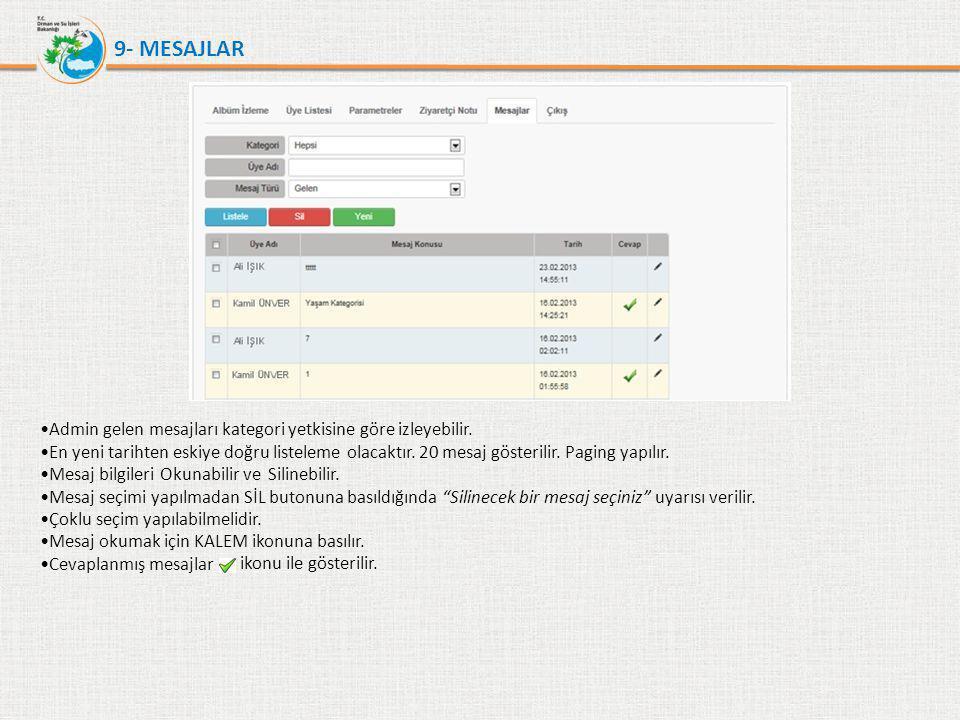 9- MESAJLAR Admin gelen mesajları kategori yetkisine göre izleyebilir.