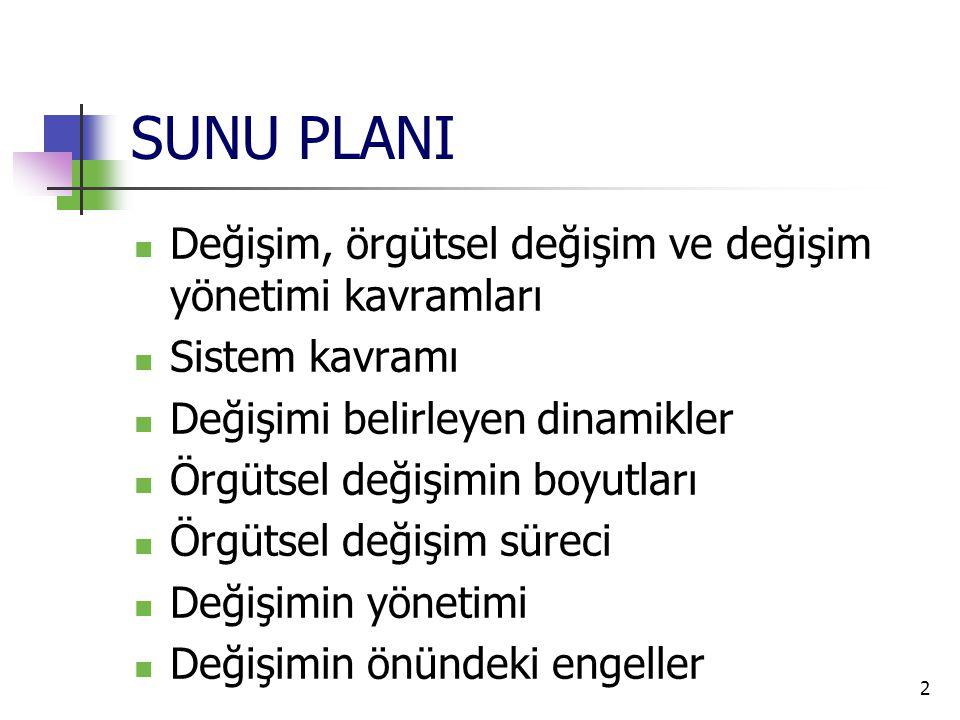 SUNU PLANI Değişim, örgütsel değişim ve değişim yönetimi kavramları
